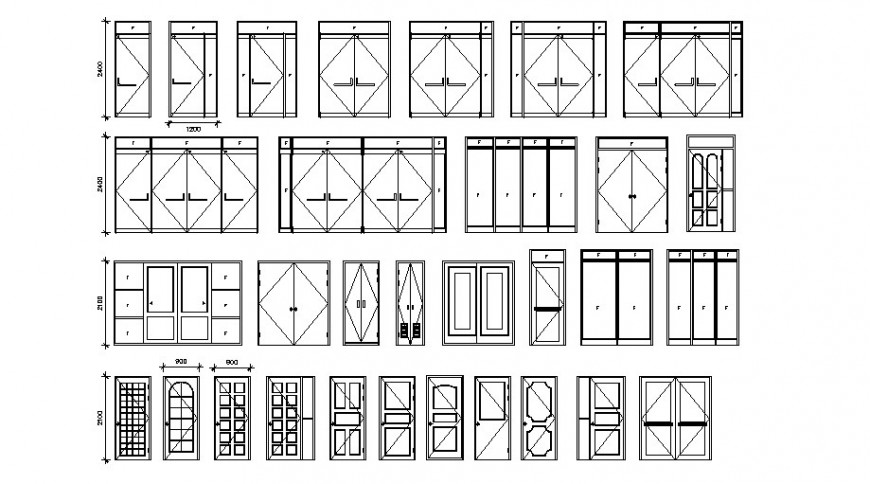 Common double and single door blocks cad drawing details dwg file