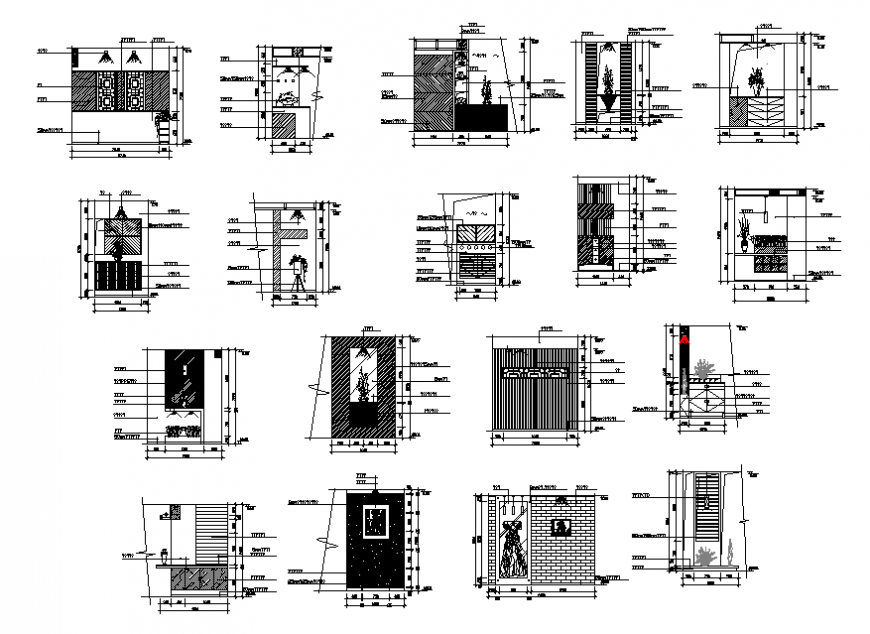 Common entrance doors and gate blocks cad drawing details dwg file