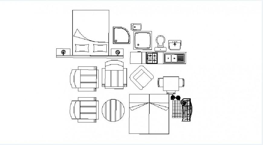 Common furniture elevation 2d blocks cad drawing details dwg file