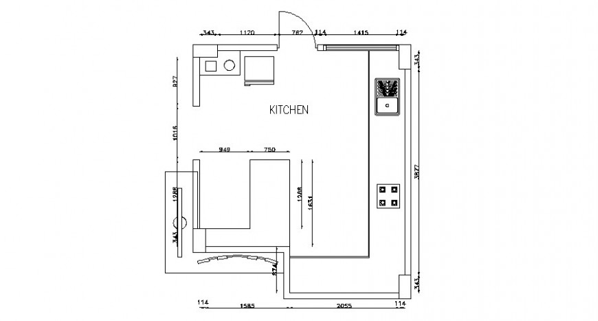 Common house kitchen plan cad drawing details dwg file