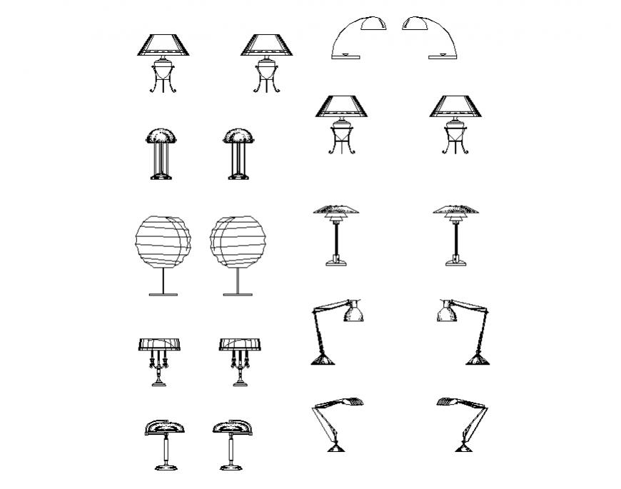 Common night lamp blocks design cad drawing details dwg file