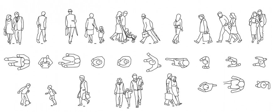 Common people 2d all sided elevation blocks drawing details dwg file
