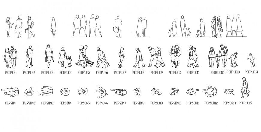 Common people and people figure elevation blocks details dwg file
