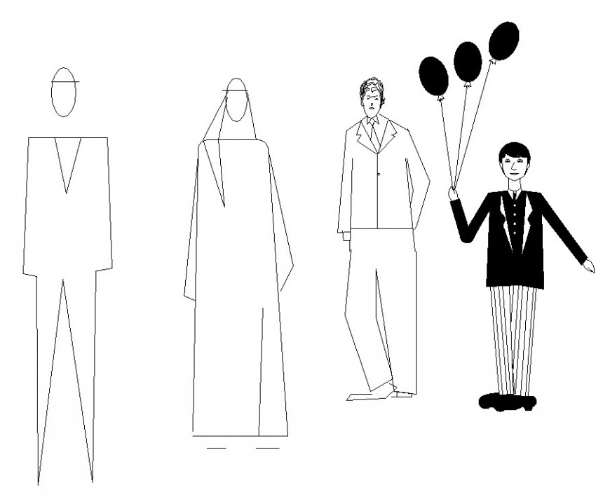 Common people figures elevation blocks cad drawing details dwg file