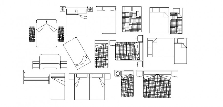 Common single and double bed 2d blocks cad drawing details dwg file