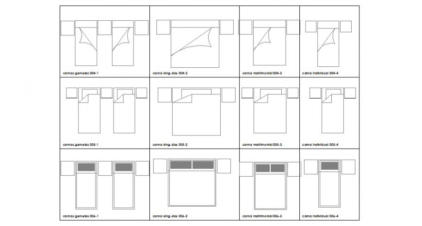 Common single and double bed top view elevation block drawing details dwg file