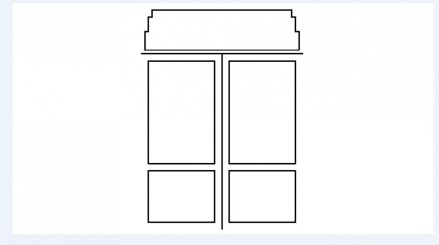 Common single window elevation block drawing details dwg file