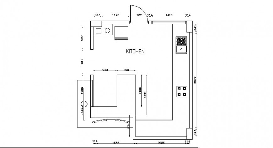 Common small kitchen layout plan cad drawing details dwg file
