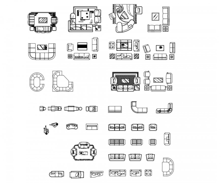 Common sofa sets top view elevation blocks cad drawing details dwg file