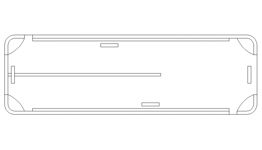 Common stretcher top view elevation cad block details dwg file