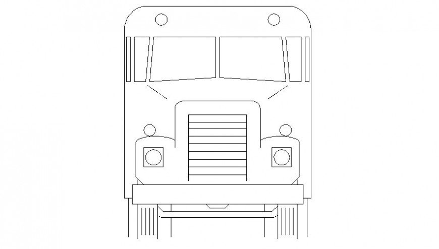 Common truck front 2d elevation block drawing details dwg file