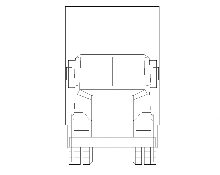 Common truck front elevation block cad drawing details dwg file