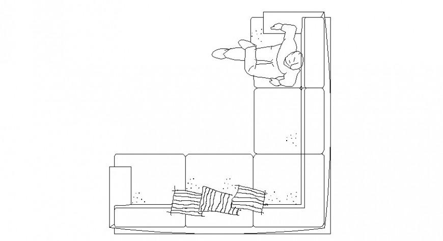 Common v shaped sofa set elevation block cad drawing details dwg file
