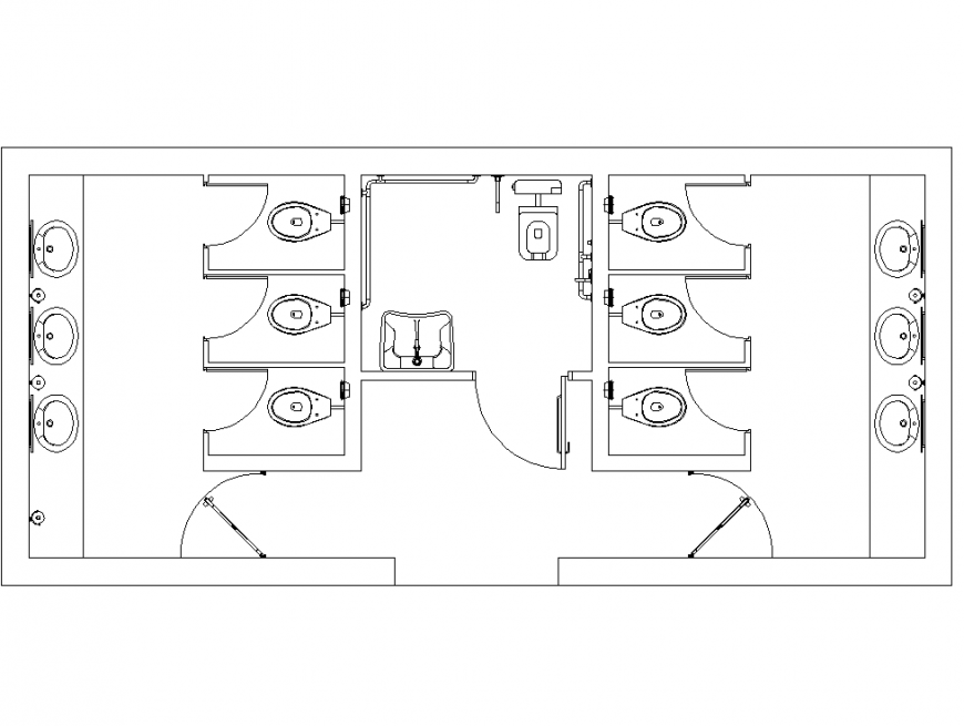 Common washroom plan with detailing dwg file.