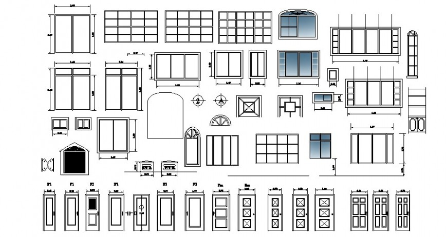 Common windows and door elevation blocks drawing details dwg file
