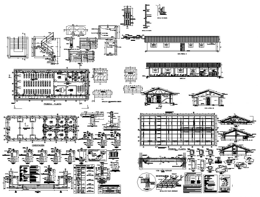 Communal building detail and different CAD structure layout dwg file