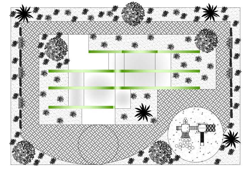 Communal park landscaping structure cad drawing details dwg file