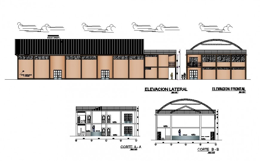 Community center building main and back elevation and section cad drawing details dwg file
