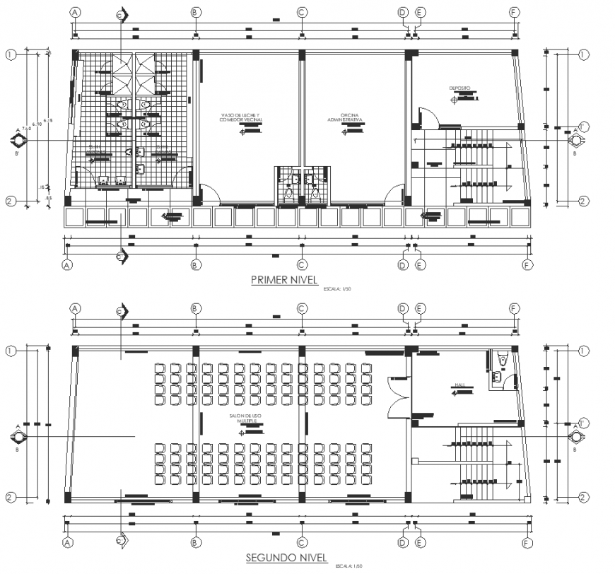 Community center plan drawing in dwg file.