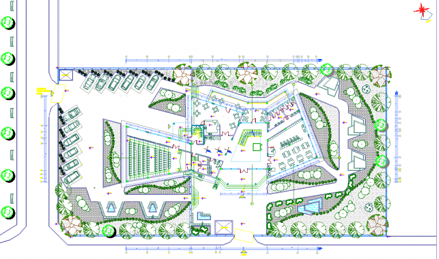 Community centre layout plan in dwg AutoCAD file.