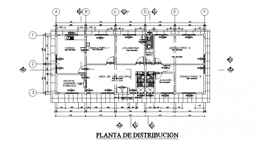 Community clinic detail elevation and plan view autocad file