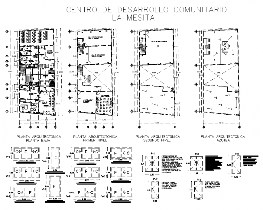 Community development centre detail drawing in dwg file.