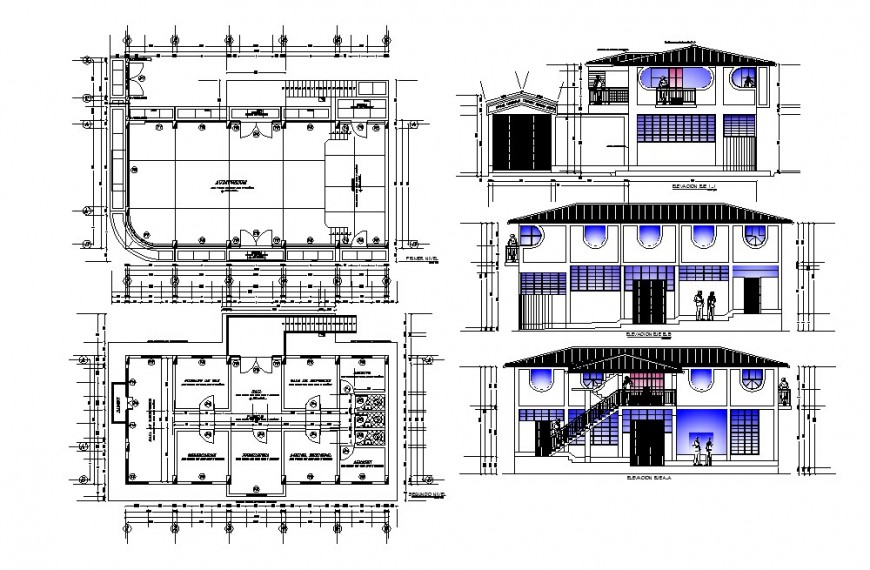 Community hall building elevation, section and plan cad drawing details dwg file
