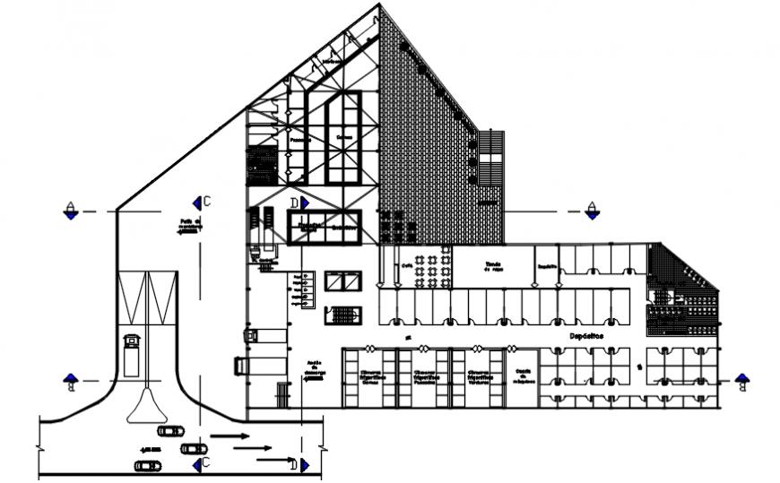 Community market distribution layout plan cad drawing details dwg file