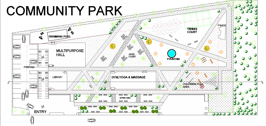 Community park detail drawing in dwg file.