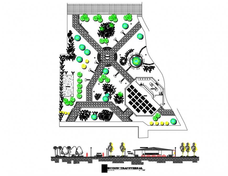 Community park gate elevation and landscaping structure details dwg file