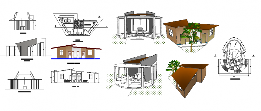 Compact house detail in dwg file.