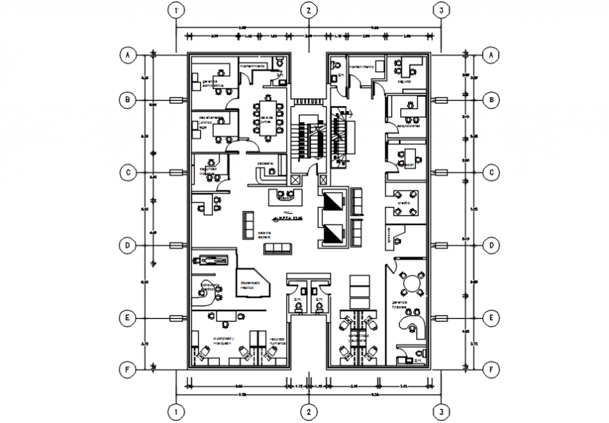Company office first floor distribution plan with furniture drawing details dwg file