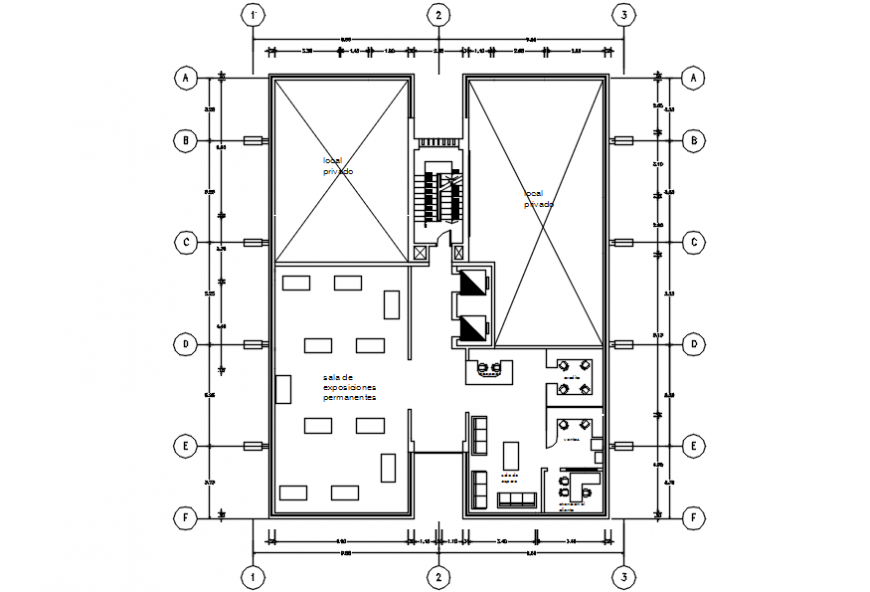 Company office second floor distribution plan with furniture drawing details dwg file