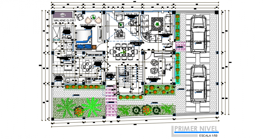 Complete architectural and furniture layout plan detail dwg file