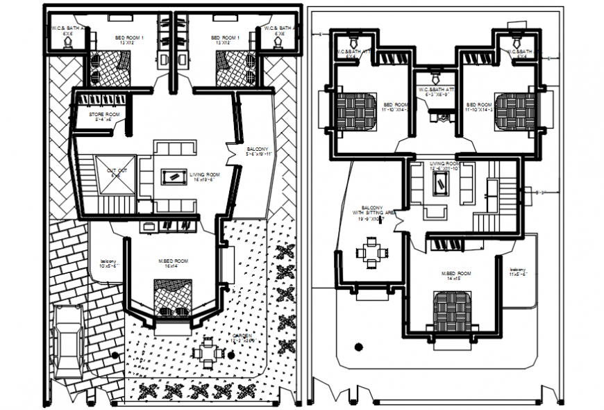 Complete furniture detail of house plan
