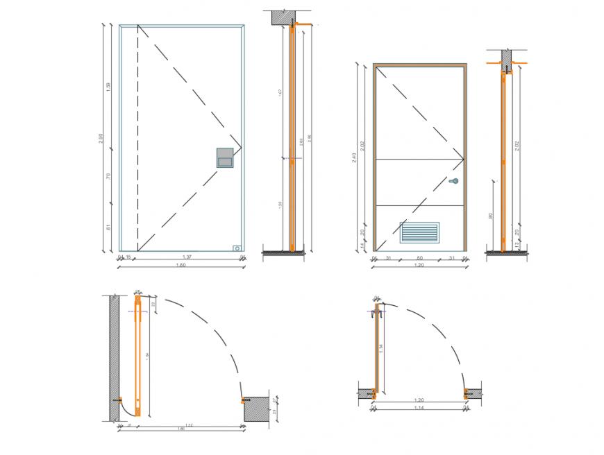 Complete internal door section, elevation cad blocks details dwg file
