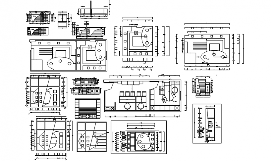 Complete over view of furniture detail dwg file