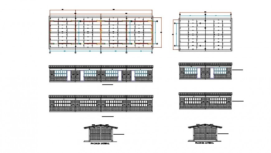 Complete sectional detail of a school building dwg file
