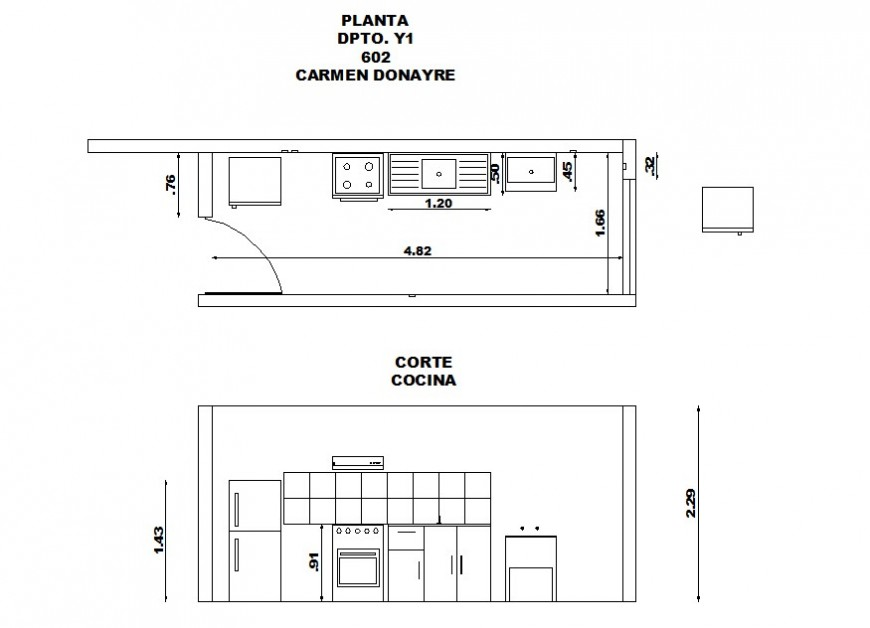 Complete top view layout plan of kitchen