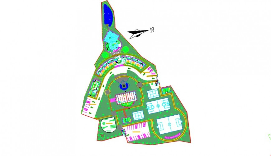 Complete top view sports center complex ground detail dwg  file
