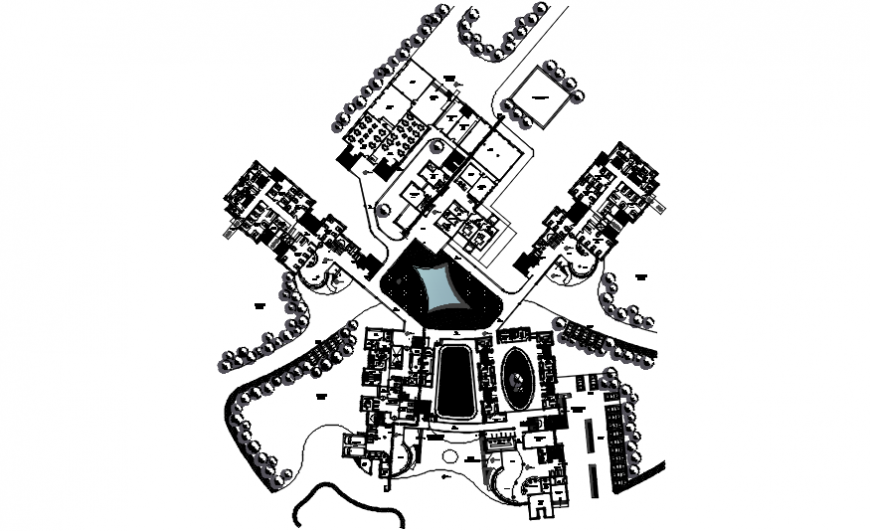 Complete view of hospital from top dwg file