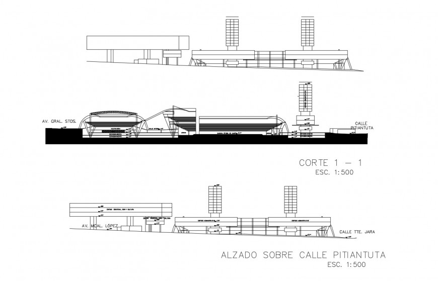 Complex of administrative and sports buildings elevation and section cad drawing details dwg file