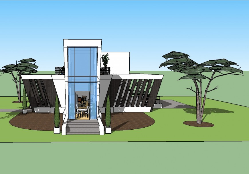 Concrete angle modern house 3d drawing details skp file