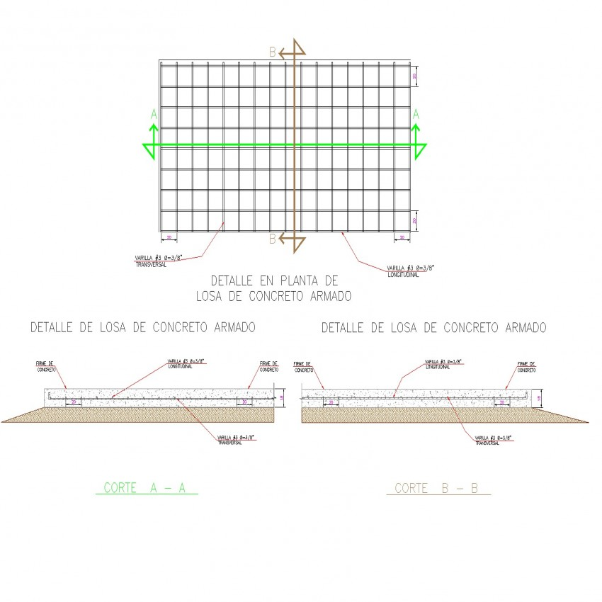 Concrete slab plan and section dwg file