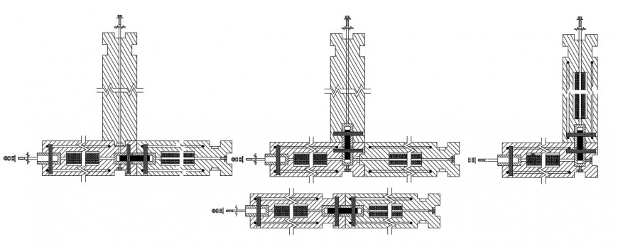 Concrete union wall block system constructive structure drawing details dwg file
