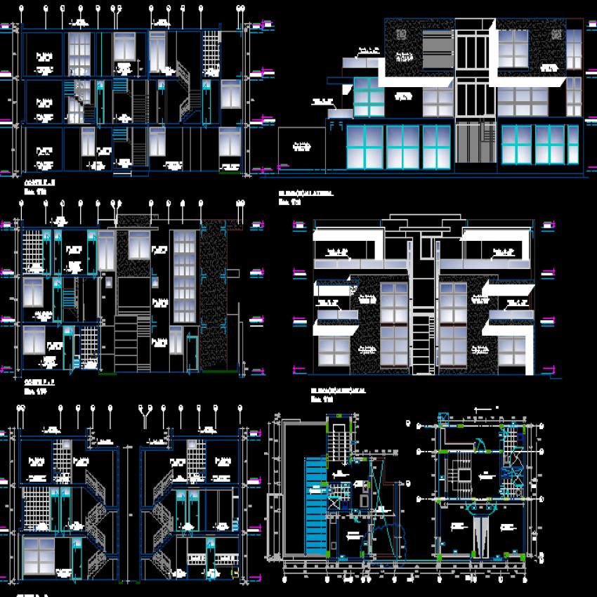 Condominium house building architecture project dwg file