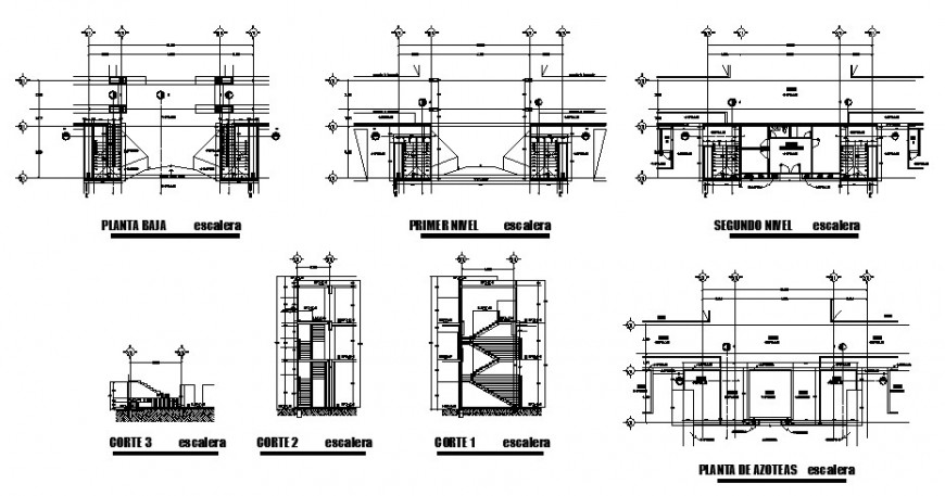 Condominium house staircases section and structure details dwg file