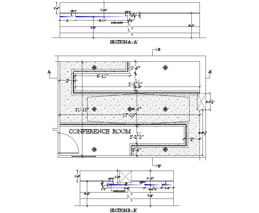 Conference room ceiling design plan and section layout file
