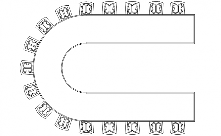 Conference table designer furniture block in AutoCAD