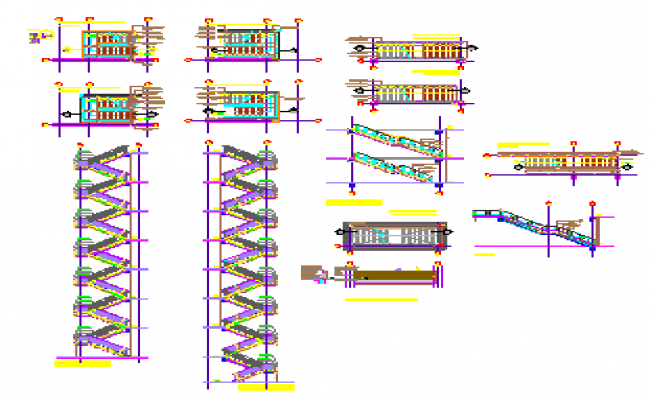 construction detail of metallic stairs detail design drawing